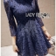 Lady Ribbon Dress เดรสผ้าลูกไม้สีนํ้าเงินเข้ม thumbnail 3