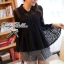 Lady Ribbon เสื้อผ้าแก้วทรงเชิ้ต ปักดอกไม้ สีขาว / สีดำ thumbnail 6