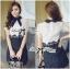 Lady Ribbon Collared Color-Block Lace Dress thumbnail 3