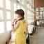 เดรสผ้ายืดเนื้อนิ่ม เอวยางยืด สีชมพู เหลือง กรมท่า thumbnail 5