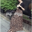 Lady Ribbon V-Neck Black Top and Leopard Pleated Maxi Skirt Set thumbnail 7
