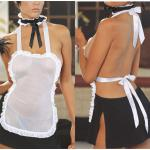 ชุดเมดเซ็กซี่ ผ้าซีทรู ท่อนบนเสื้อผ้ากันเปื้อนสีขาว ผูกต้นคอและผูกเอวด้านหลัง กระโปรงสีดำซีทรูผ่าต้นขา ผ้าคาดคอ (พร้อม กกน.เข้าชุด)