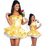 ชุดเจ้าหญิง,เจ้าหญิงดิสนีย์,เจ้าหญิงเบลล์, ชุด Beauty and the Beast เดรสสีเหลืองขลิบทอง ด้านหลังเป็นริบบิ้นร้อยไปมา