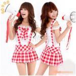 ชุดนักเรียนอินเตอร์ ชุดนักเรียนญี่ปุ่นแฟนซี เสื้อโชว์ไหล่ขาว โบว์อก พร้อมกระโปรงเอี๊ยมสั้นลายสก็อตแดงขาว