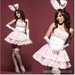 ชุดแฟนซี เกาะอก กระต่ายน้อย Bunny girl กระโปรงบาน พร้อมหูกระต่าย+ถุงมือ สีชมพูหวานขลิบขาว