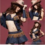 ชุดคาวเกิร์ล,ชุดCowgirl สุดเซ็กซี่ ผ้ายีนส์ตกแต่งไหมญี่ปุ่นสีน้ำตาลเป็นริ้วๆ พร้อมปลอกขา ปลอกแขน (ไม่มีหมวก)