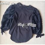 Lady Ribbon เสื้อผ้าคอตตอนตัดต่อผ้าลูกไม้ช่วงแขน สีดำ