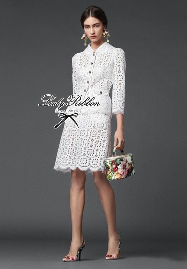 Lady Ribbon Chic Lace Set เซ็ตเสื้อและกระโปรงผ้าลูกไม้สไตล์ผู้ดี