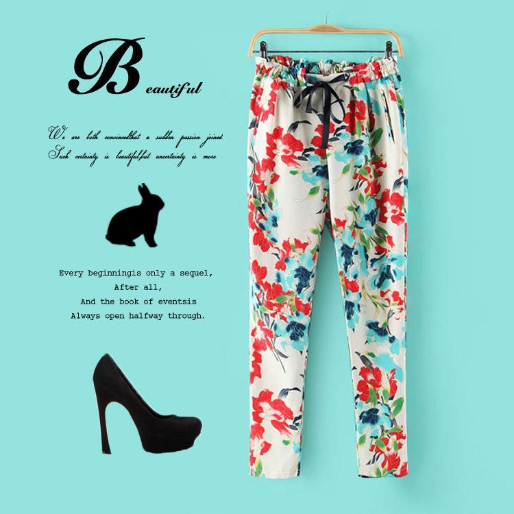กางเกงขายาวผ้าชีฟอง พิมพ์ลายดอกไม้ เอวยางยืด
