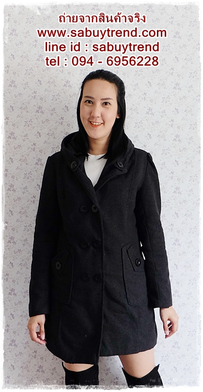((ขายแล้วครับ))((คุณJAHจองครับ))ca-2701 เสื้อโค้ทกันหนาวผาวูลสีดำเทา รอบอก38