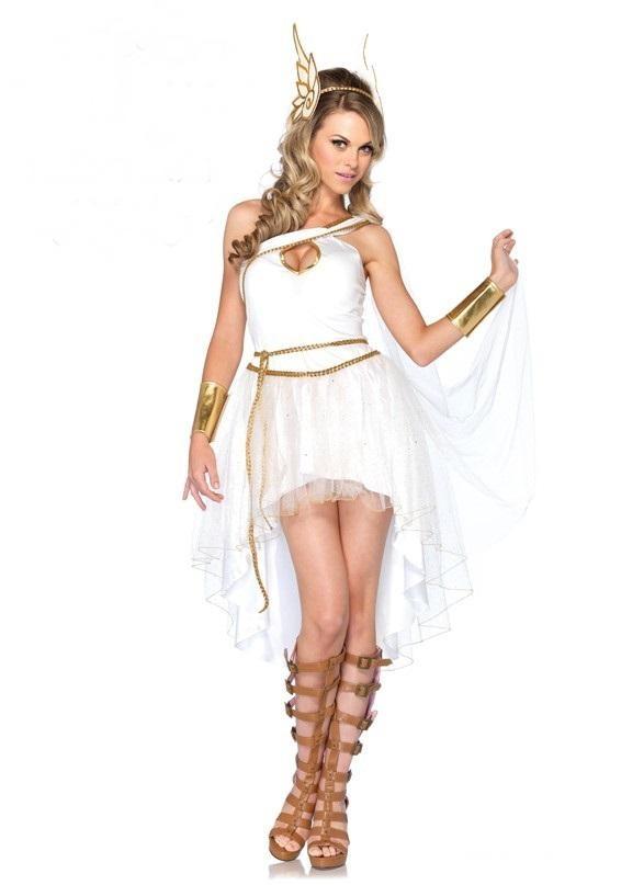 ชุดสาวกรีกแฟนซี,ชุดสาวโรมัน,ชุดเทพเจ้ากรีก เดรสไหล่เดียว กระโปรงหน้าสั้นหลังยาว สีขาวแต่งเปียสีทอง+เชือกคาดเอวเปียทอง+คาดผมปีกนก+ข้อมือสีทอง