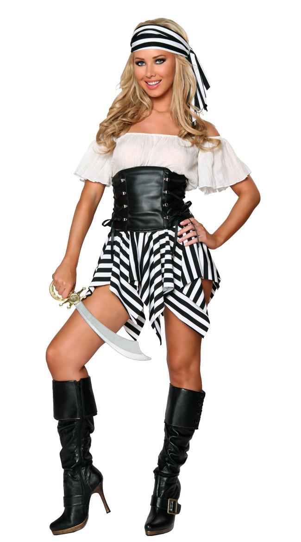 ชุดโจรสลัดหญิง,ชุด Pirates of the Caribbean ทั้งชุด เสื้อ-กระโปรง-เข็มขัด ติดกันเป็นชิ้นเดียว, มีริบบิ้นเล็กร้อยช่วงเอว,พร้อมผ้าคาดหัว