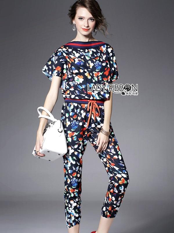 Lady Ribbon Flower Printed Jumpsuit