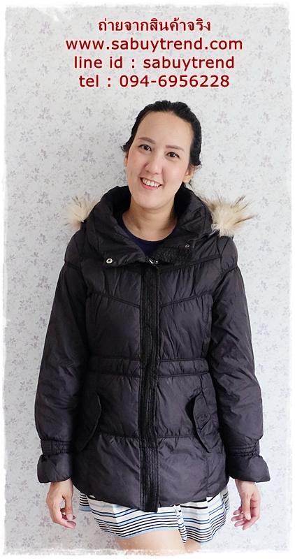 ((ขายแล้วครับ))ca-2811 เสื้อโค้ทกันหนาวผ้าร่มสีดำ รอบอก38