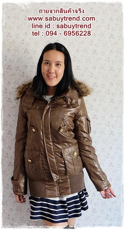 ((คุณohiaumจองครับ)) ca-2549 เสื้อโค้ทกันหนาวผ้าร่มสีน้ำตาลขี้ม้า รอบอก38