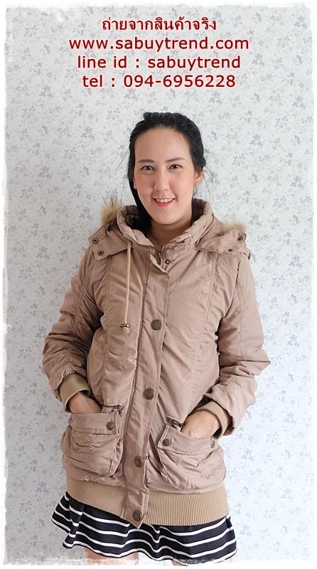 ((ขายแล้วครับ))((คุณแมมมอธจองครับ))ca- 2733 เสื้อโค้ทกันหนาวสีกากี รอบอก40
