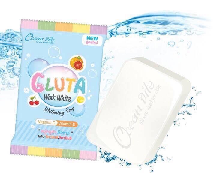 Gluta Wink White Whitening Soap by Ocean Vite 85 g. สบู่กลูต้าผิวขาว