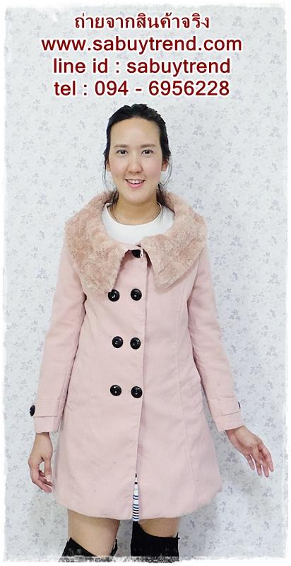 ((ขายแล้วครับ))((คุณMeemeeจองครับ))ca-2629 เสื้อโค้ทกันหนาวผ้าวูลสีชมพู รอบอก36