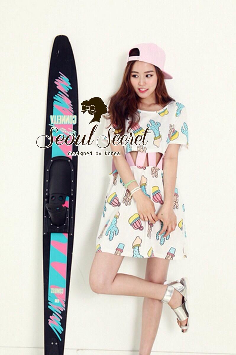 Seoul Secret เดรสลายกระบองเพชรสีหวาน เจาะเอว