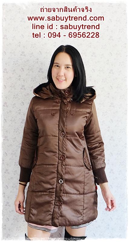((ขายแล้วครับ))((คุณPencyจองครับ))ca-2631 เสื้อโค้ทกันหนาวผ้าร่มสีน้ำตาล รอบอก38