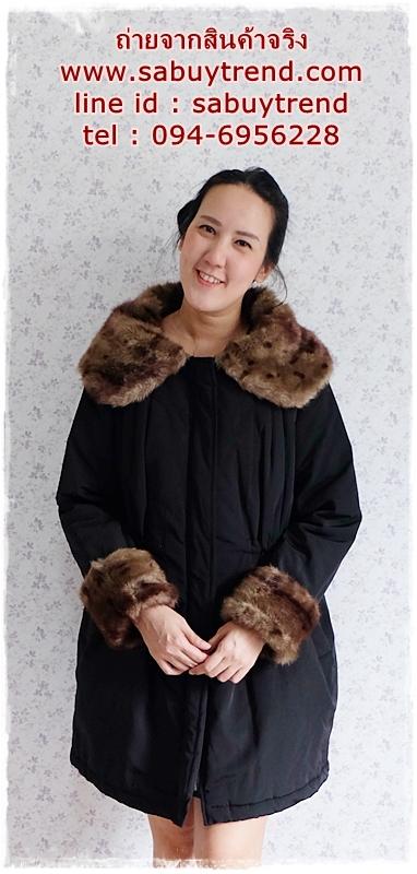 ((ขายแล้วครับ))((จองแล้วครับ))ca-2929 เสื้อโค้ทผ้าร่มสีดำ รอบอก44