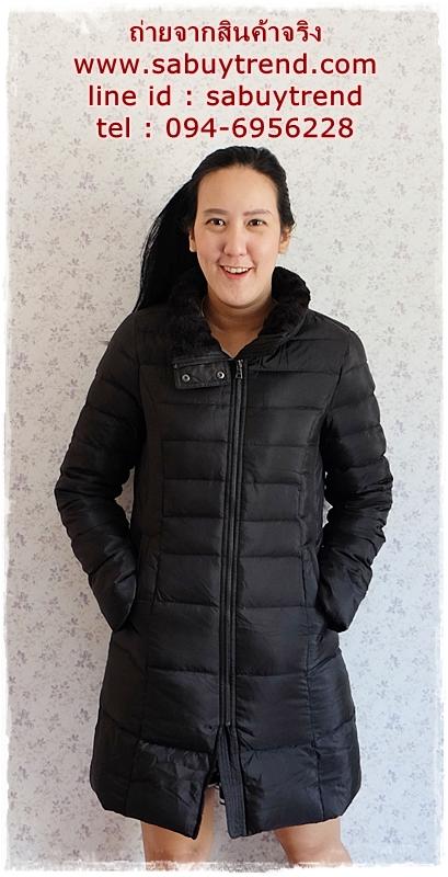 ((ขายแล้วครับ))((จองแล้วครับ))ca-2868 เสื้อโค้ทขนเป็ดสีดำ รอบอก 37