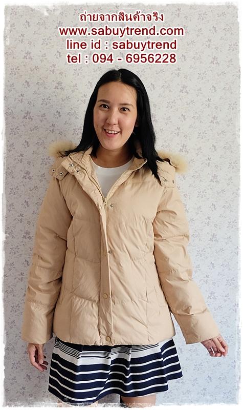 ((ขายแล้วครับ))ca-2551 เสื้อโค้ทกันหนาวผ้าร่มขนเป็ดสีกากี รอบอก40