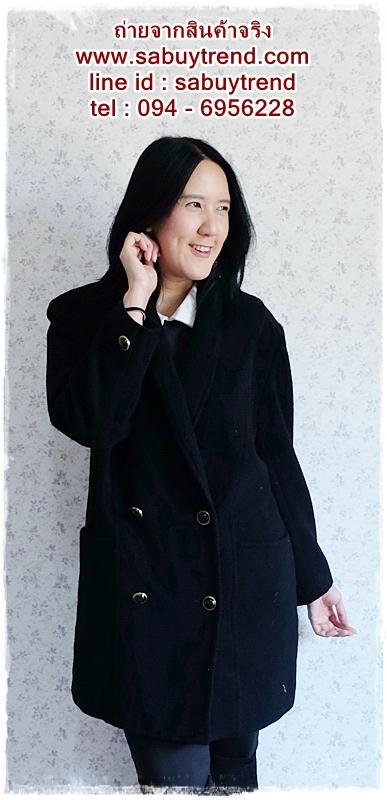 ((ขายแล้วครับ))((คุณวาสนาจองครับ))ca-2544 เสื้อโค้ทกันหนาวผ้าวูลสีดำ รอบอก42
