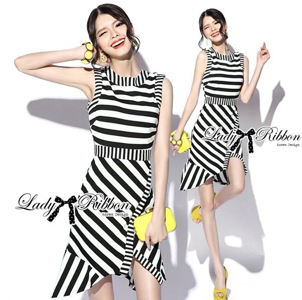 Lady Ribbon Lady Charlies Mix Striped Monochrome Dress