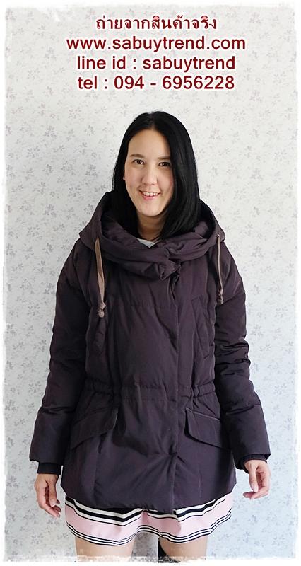 ((ขายแล้วครับ))((จองแล้วครับ))ca-2644 เสื้อโค้ทกันหนาวผ้าร่มขนเป็ดสีดำเทา รอบอก46