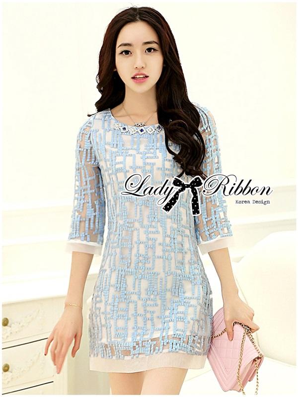 Lady Ribbon Embroidered Organza Dress