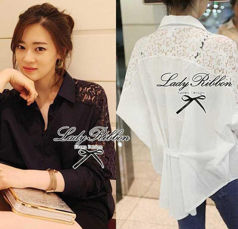 Lady Ribbon Lace Shirt เสื้อเชิ้ตแขนยาว ไหล่ลูกไม้ฉลุดอกไม้ ขาว/ดำ