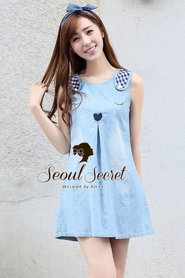 Seoul Secret Blue Rabbit Denim Dress