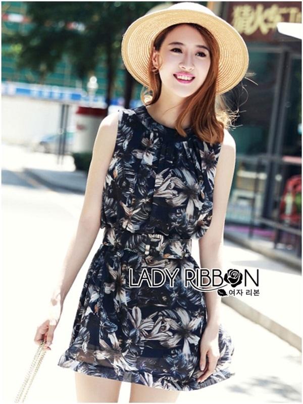 Lady Ribbon Monochrome Floral Printed Mini Dress