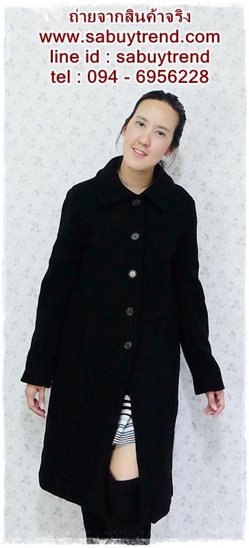 ((ขายแล้วครับ))((คุณSaimaneeจองครับ))ca-2628 เสื้อโค้ทกันหนาวผ้าวูลสีดำ รอบอก37