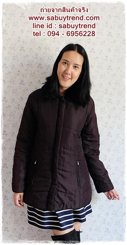 ((ขายแล้วครับ))((จองแล้วครับ))ca-2548 เสื้อโค้ทกันหนาวผ้าร่มสีดำ รอบอก42