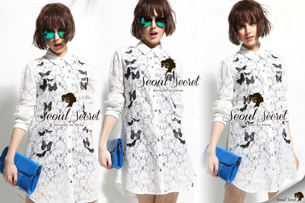 Seoul Secret Chic Butterfly Lace Shirt