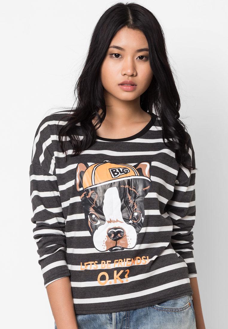 เสื้อยืดแขนยาว Stripe And Dog