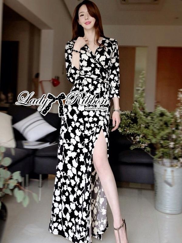Lady Ribbon Black and White Daisy Wrap Maxi Dress