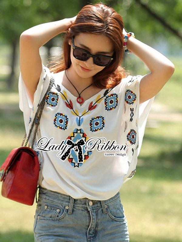Lady Ribbon Summer Moroccan Embroidery Blouse