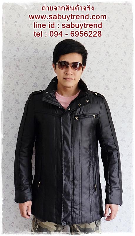 ((ขายแล้วครับ))((คุณMuddyจองครับ))cm-101 เสื้อแจ๊คเก็ตกันหนาวสีดำ รอบอก44
