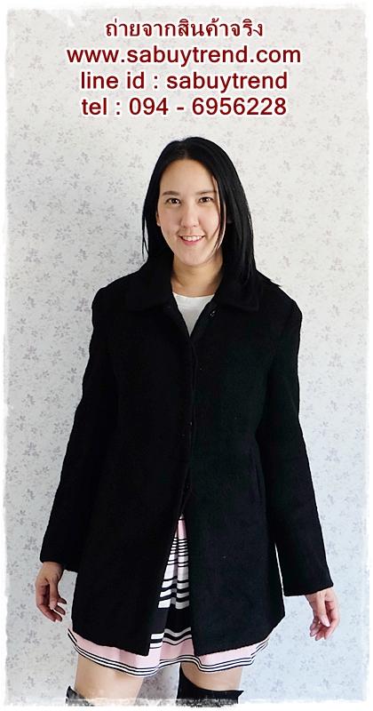 ((ขายแล้วครับ))((จองแล้วครับ))ca-2660 เสื้อโค้ทกันหนาวผ้าวูลสีดำ รอบอก38