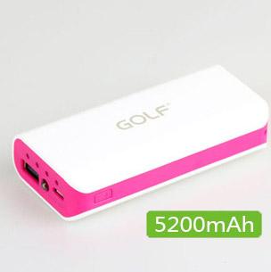 แบตเตอรี่สำรองพกพา สำหรับมือถือ ยี่ห้อ GOLF 5200mAh รุ่น 802 สีชมพูเข้ม