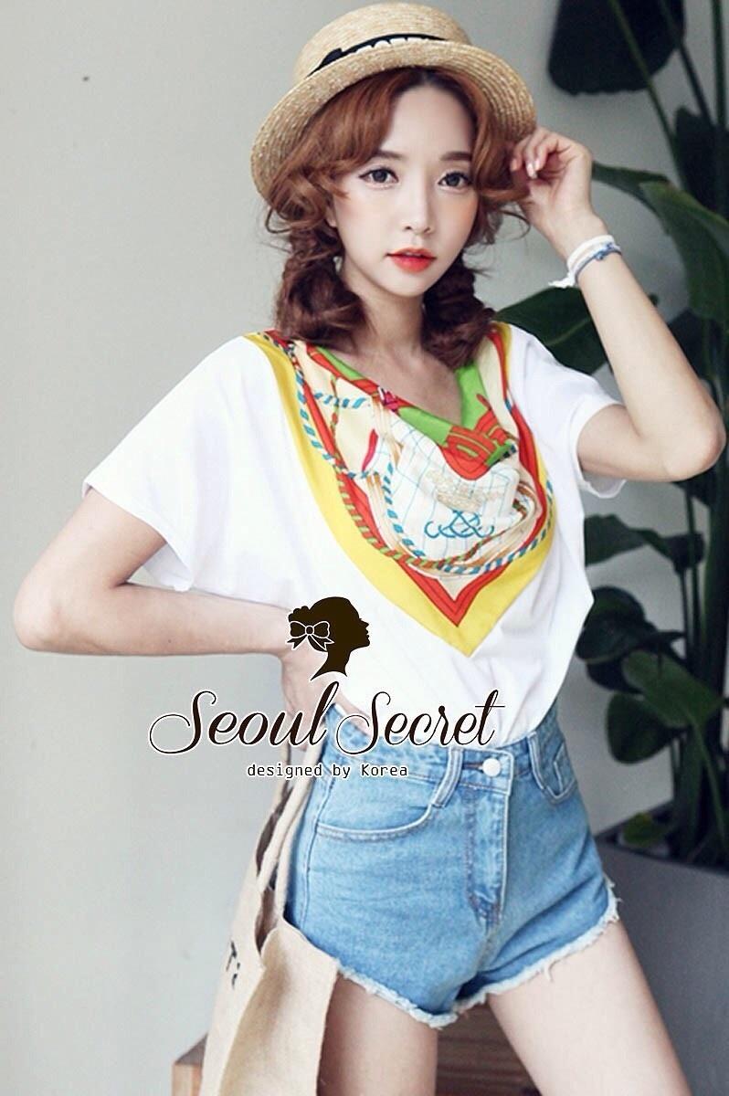 Seoul Secret เสื้อผ้ายืด ต่อด้วยผ้าพิมพ์ลายสไตล์ Roman