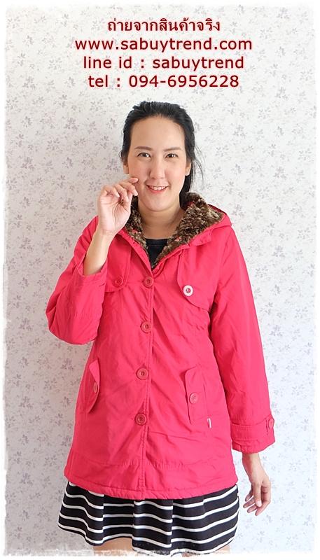 ((ขายแล้วครับ))((จองแล้วครับ))ca-2727 เสื้อโค้ทกันหนาวสีชมพู รอบอก38