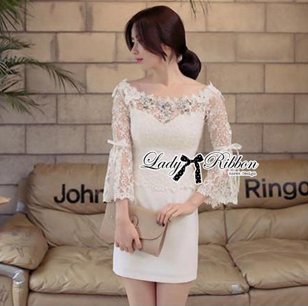 Lady Ribbon Elegant Crystal Embellished Insert Lace Dress