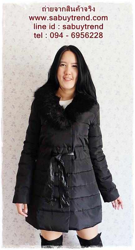 ((ขายแล้วครับ))((คุณKatจองครับ))ca-2671 เสื้อโค้ทกันหนาวผ้าร่มขนเป็ดสีดำ รอบอก39