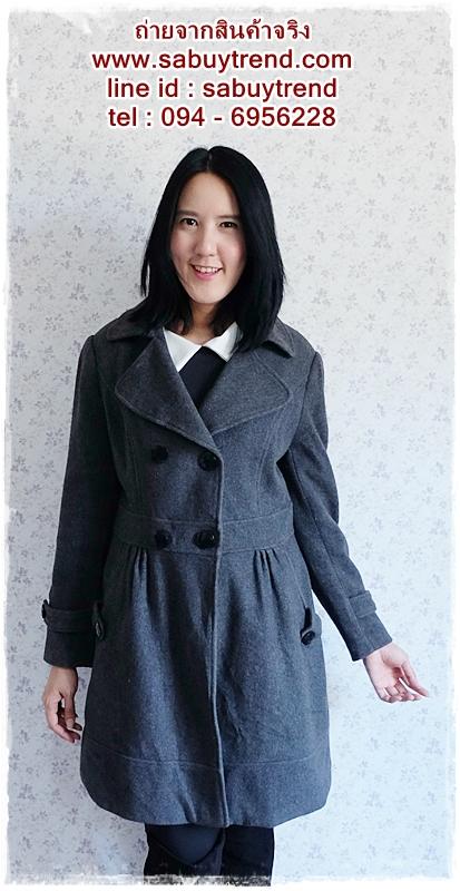 ((ขายแล้วครับ))((คุณBelleจองครับ))ca-2542 เสื้อโค้ทกันหนาวผ้าวูลสีเทาดำ รอบอก38