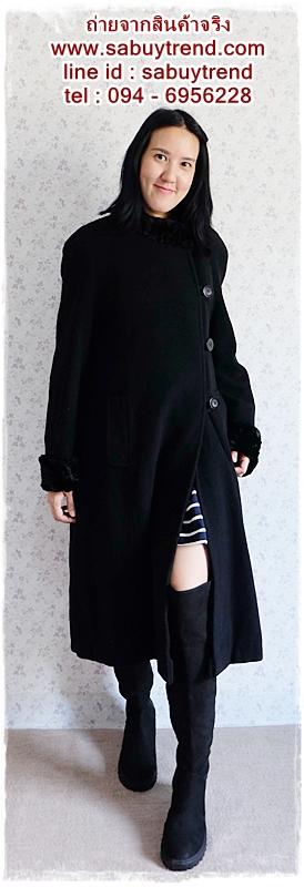 ((ขายแล้วครับ))((คุณLunaจองครับ))ca-2570 เสื้อโค้ทกันหนาวผ้าวูลสีดำ รอบอก44