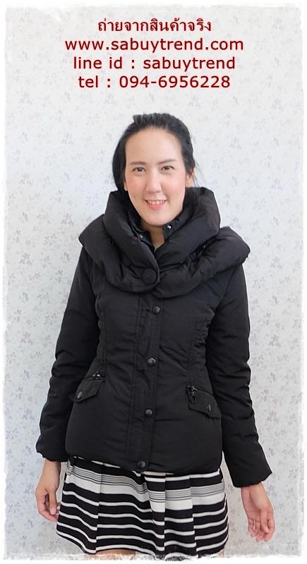 ((ขายแล้วครับ))((คุณJennyจองครับ))ca-2743 เสื้อโค้ทขนเป็ดสีดำ รอบอก35